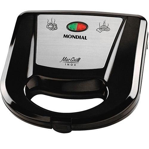 GRILL E SANDUICHEIRA MAC GRILL INOX MONDIAL S-11 - PRETO/INOX 110V