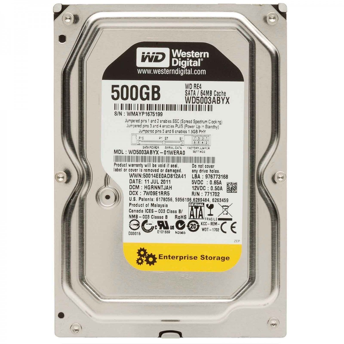 Hd 500Gb Sata3 Wester Digital 7200Rpm Wd5003Abyx
