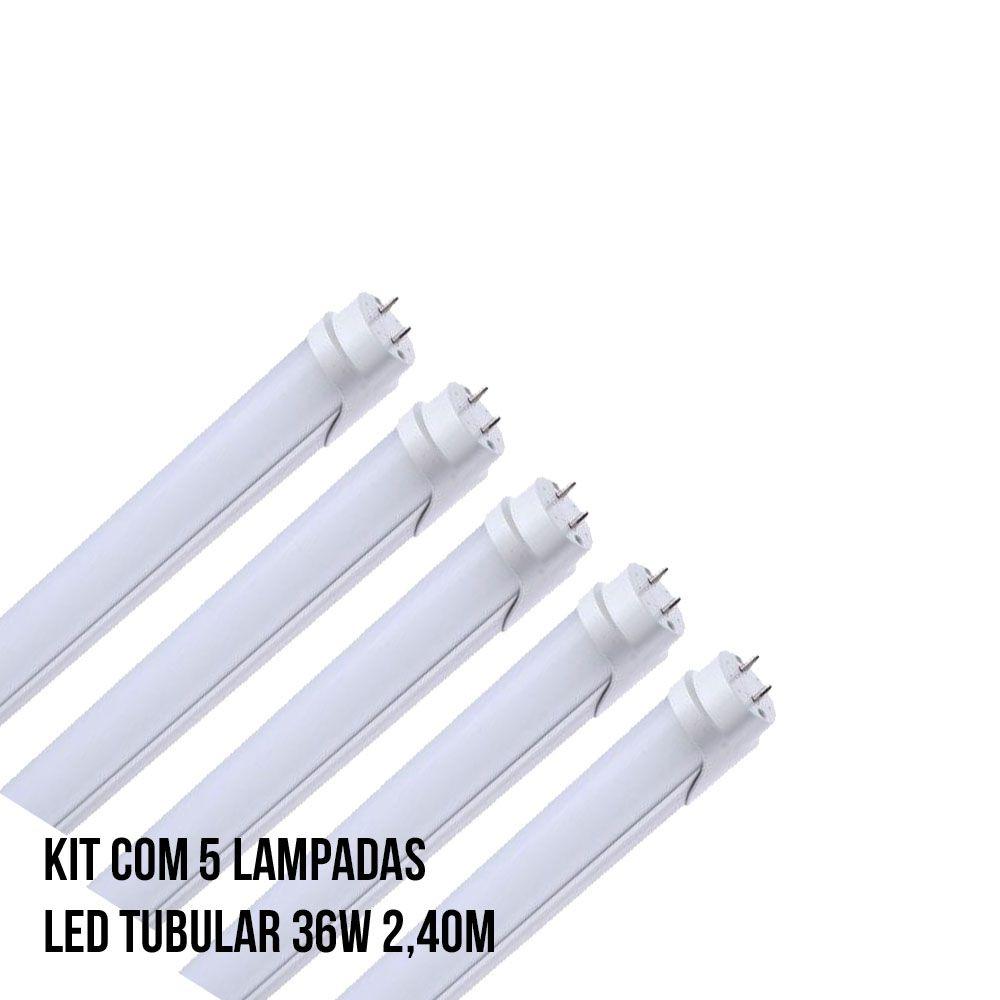 Kit com 5 Lampadas Led Tubular 36W 2,40M