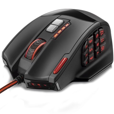 Mouse Gamer Warrior Multilaser 18 Botoes 4000 Dpi Preto Usb Mo205