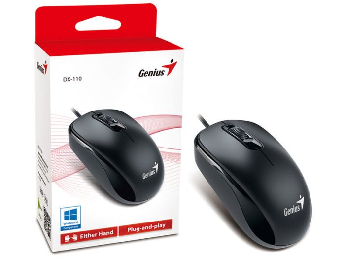 Mouse Usb Optico Preto Genius Dx-110