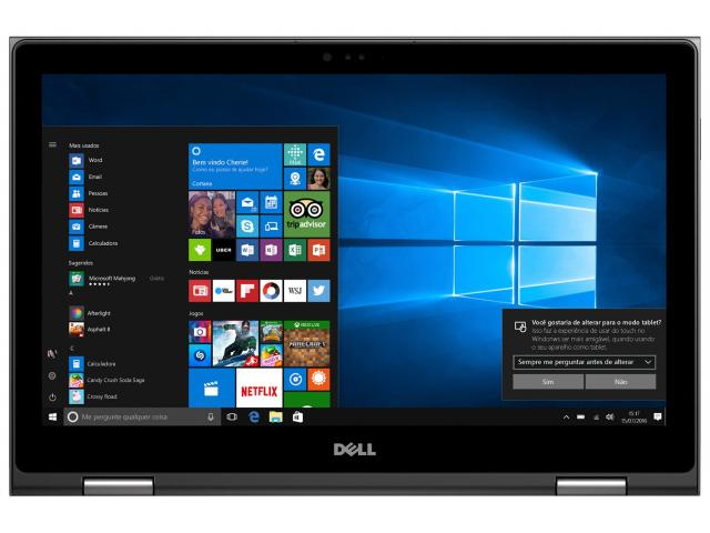 Notebook Dell Inspiron 5378 2-1 I3-7100U 3.1Ghz| 1Tb| 4Gb| 13| Touch| W10Home| Preto