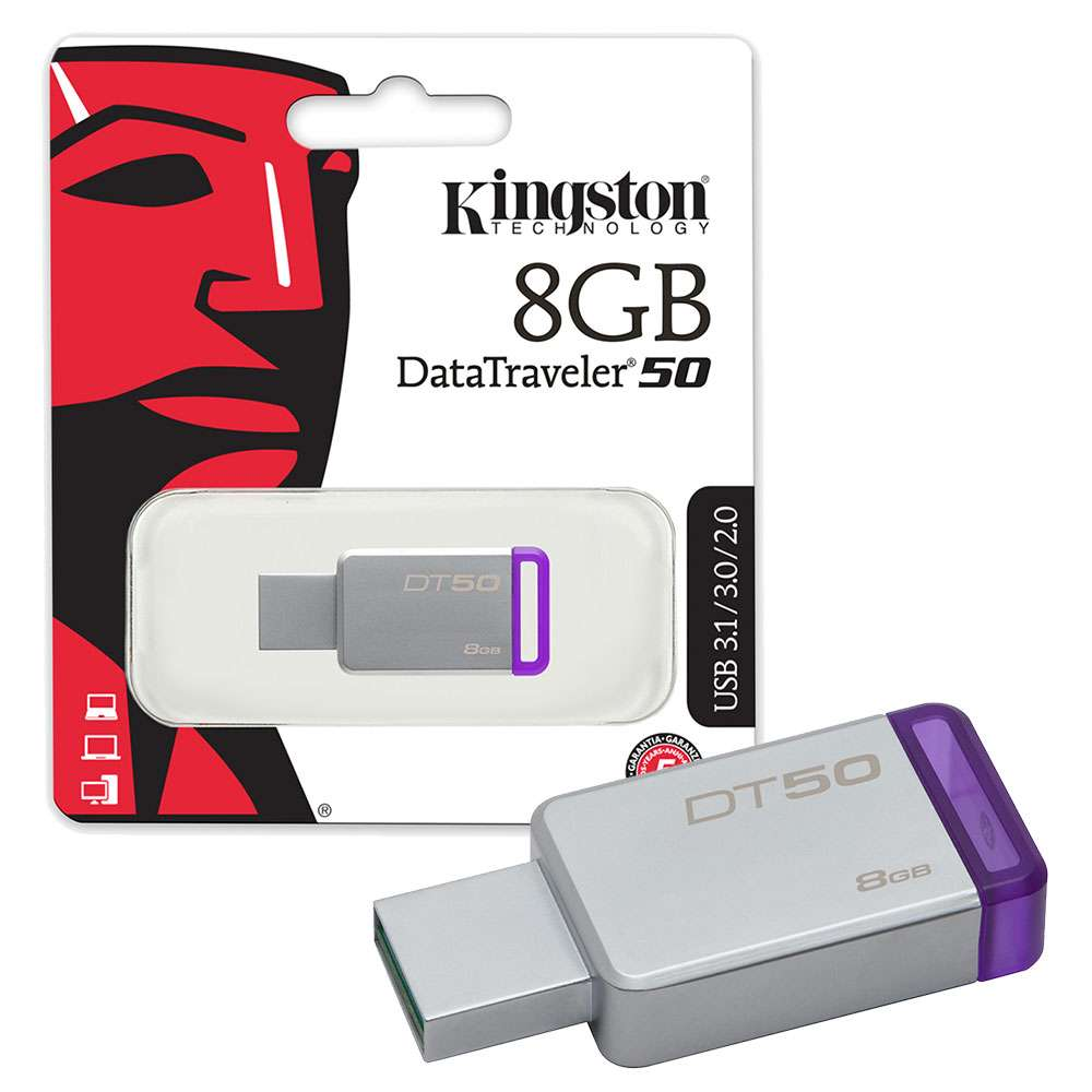 Pen Drive Kingston Datatraveler Dt50 Usb 3.1 8Gb Metal/Roxo