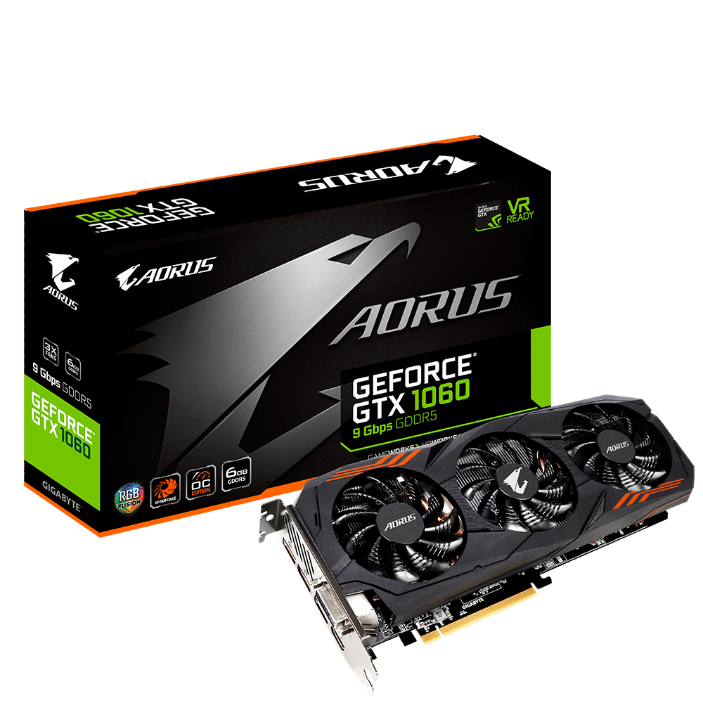 Placa De Vídeo Gtx1060 6Gb Aorus Windforce 3X Ddr5 Gigabyte