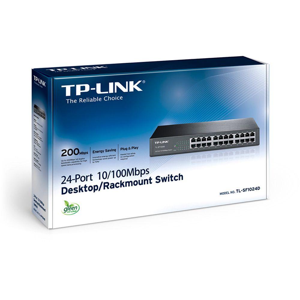Switch 24 Portas 10| 100 Tp-Link Switch Tl-Sf1024D (Rack)