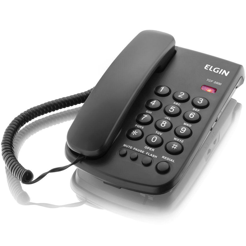 Telefone De Mesa Elgin Tfc2000 Com Fio Cor Preta