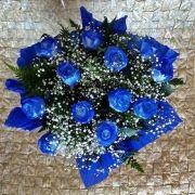 Buquê 12 rosas azuis