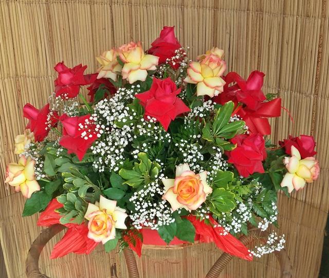 Cesta 24 rosas - Vermelha e Ambiance