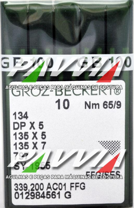 Agulha 134 R ou DPx5 R .65/9 GROZ-BECKERT Pacote com 10 unidades