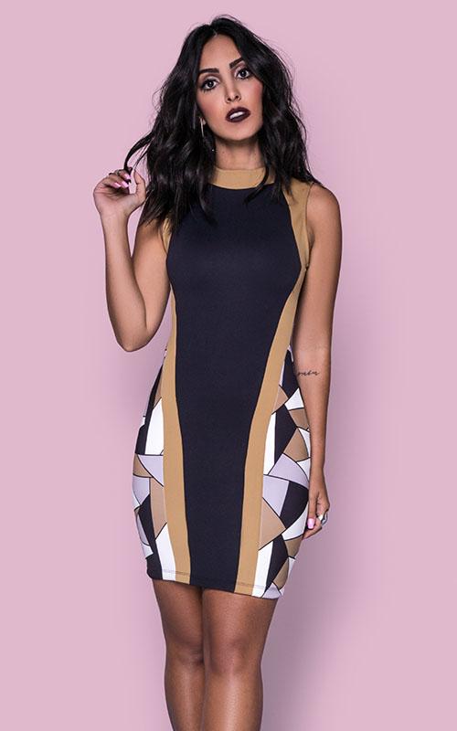 Vestido Noite Estampado - Coleção Jade Seba