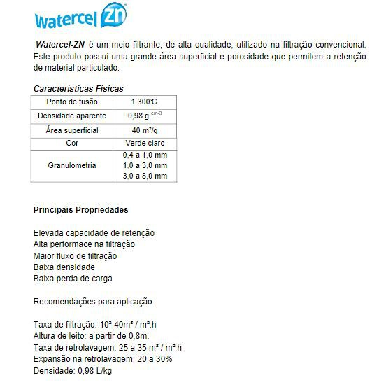 Zeolita Natural: 25kg  (granulometria: 1 a 3 mm) - Watercel ZN