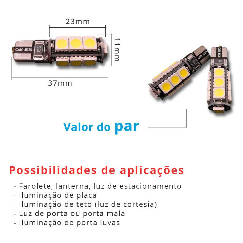Lâmpada Pingo T10 W5w 13 Leds Smd 5050 Branco Canbus