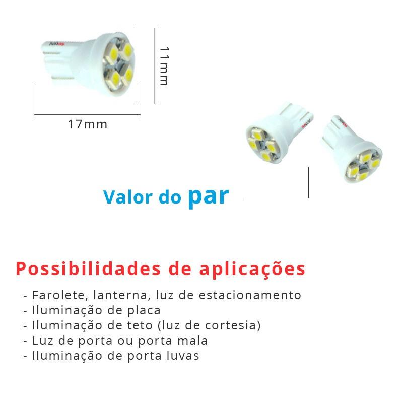 Lâmpada Pingo T10 W5w 4 Leds Smd 3528 Azul