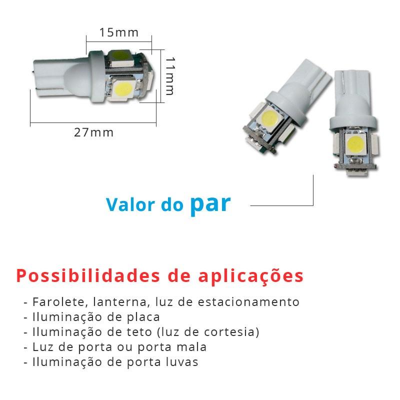 Lâmpada Pingo T10 W5w 5 Leds Smd 5050 Branco