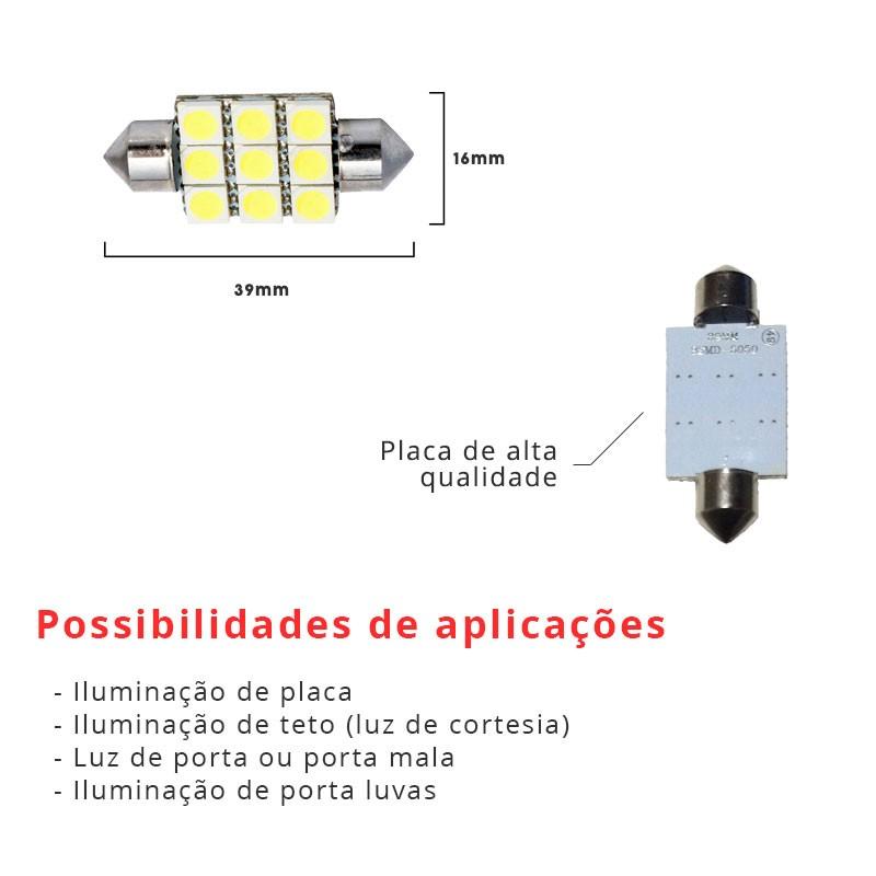 Lâmpada Torpedo 39mm 9 Leds Smd 5050 Branco