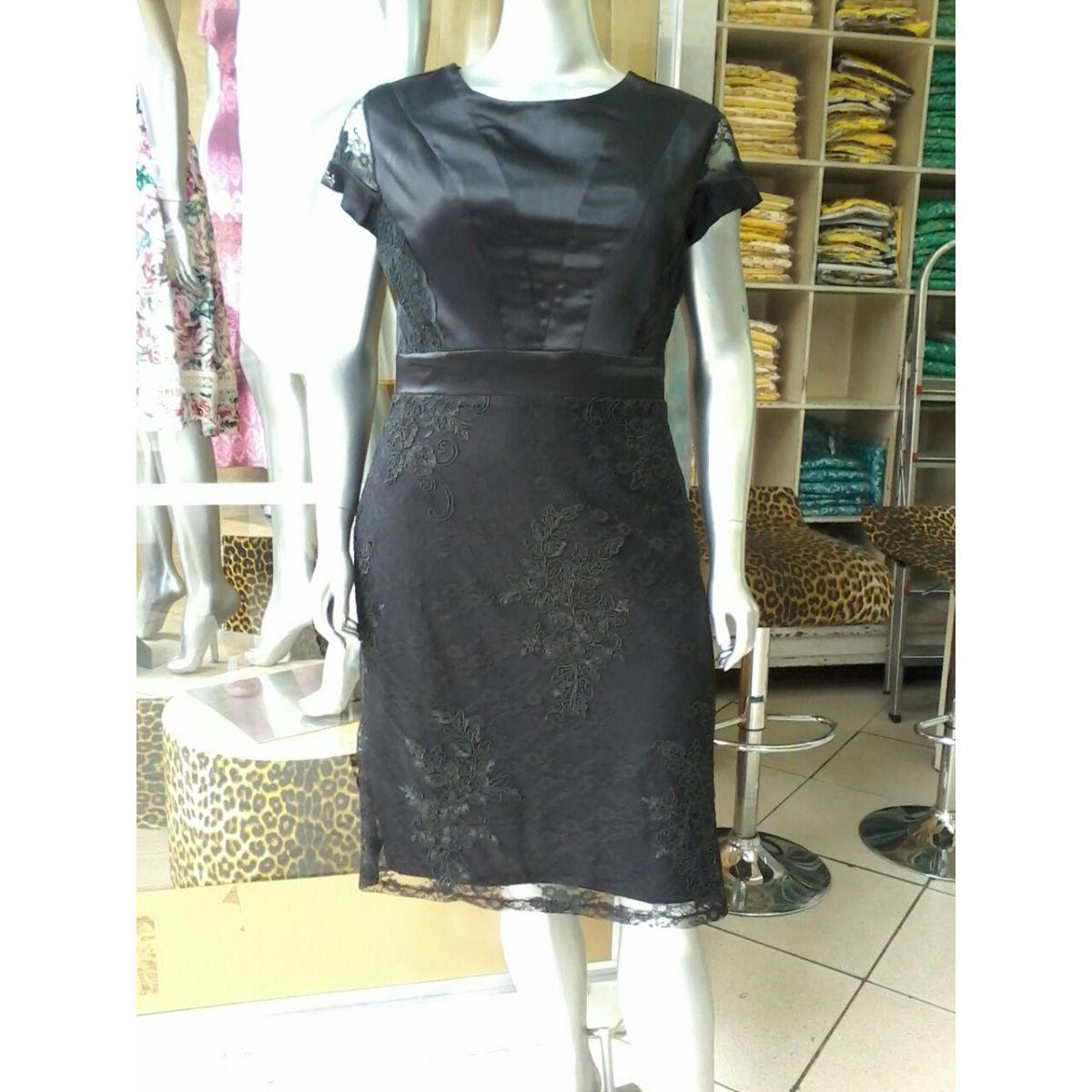 1524-Vestido plus size longo em renda c/ forro det. em cotton cetim