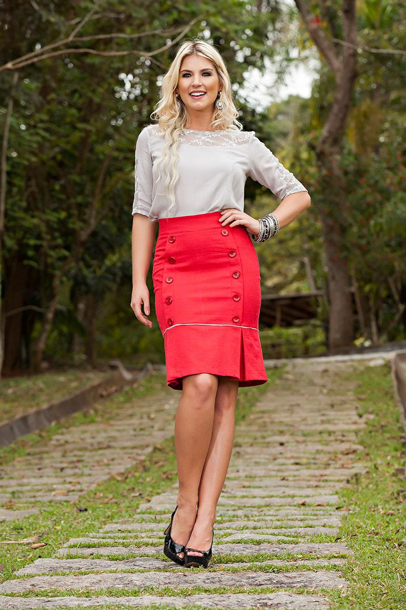 1731- Conj: saia jacquard c/ botoes e blusa crepe