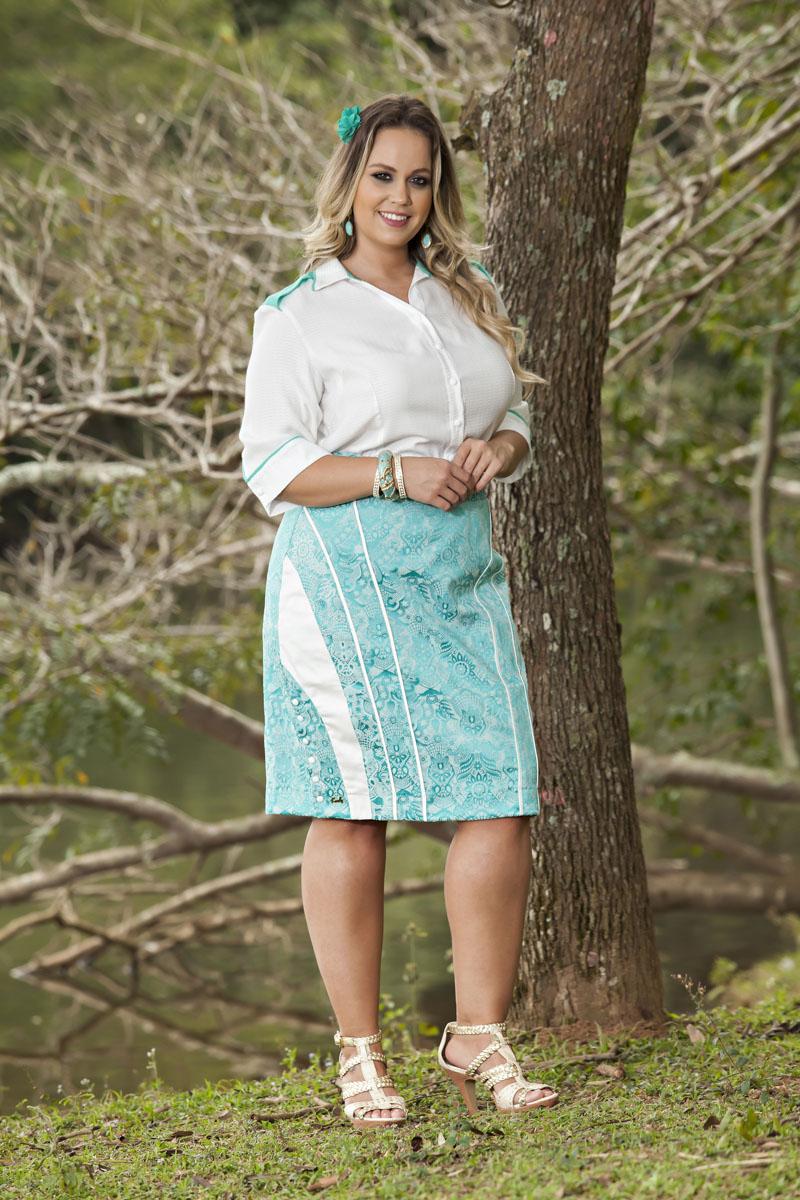 1736-Conj: plus size saia jacquard e camisete viscose