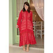2652 - Vestido Plus Size maxi em renda com malha rayon e manga sino