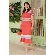 2656 - Vestido Plus Size em linho com strech, forrado, color block e comprimento midi