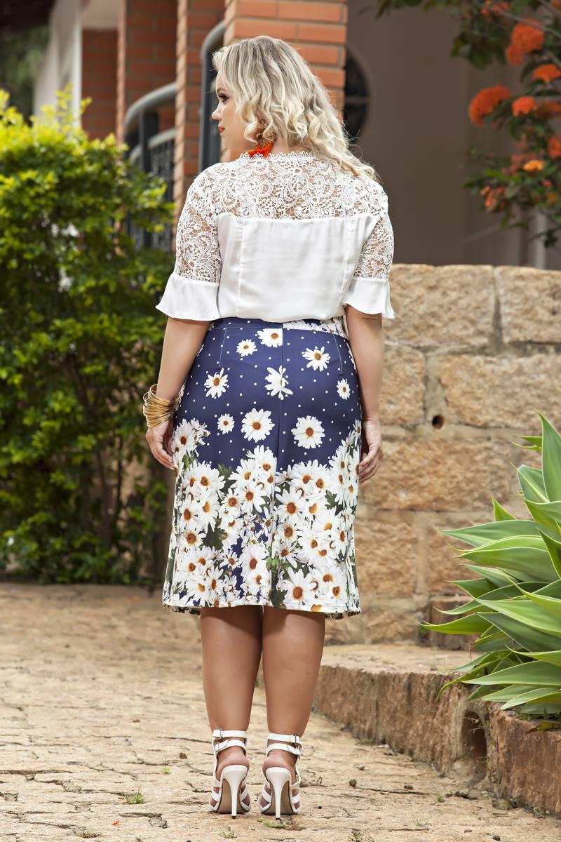 1890- Conj: plus size saia malha barrada  e blusa cetim c/ renda