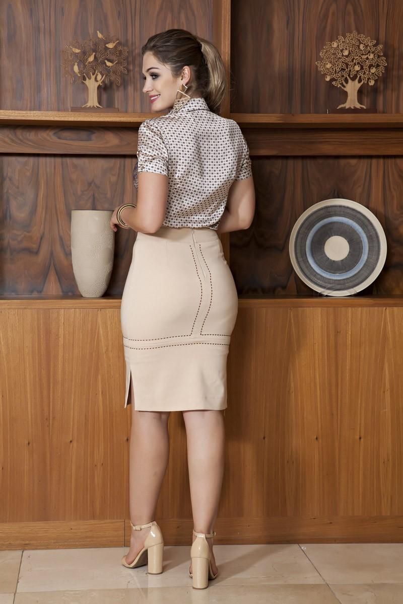 1972- Conj: saia alfaiataria bordada e camisa estampa exclusiva kauly