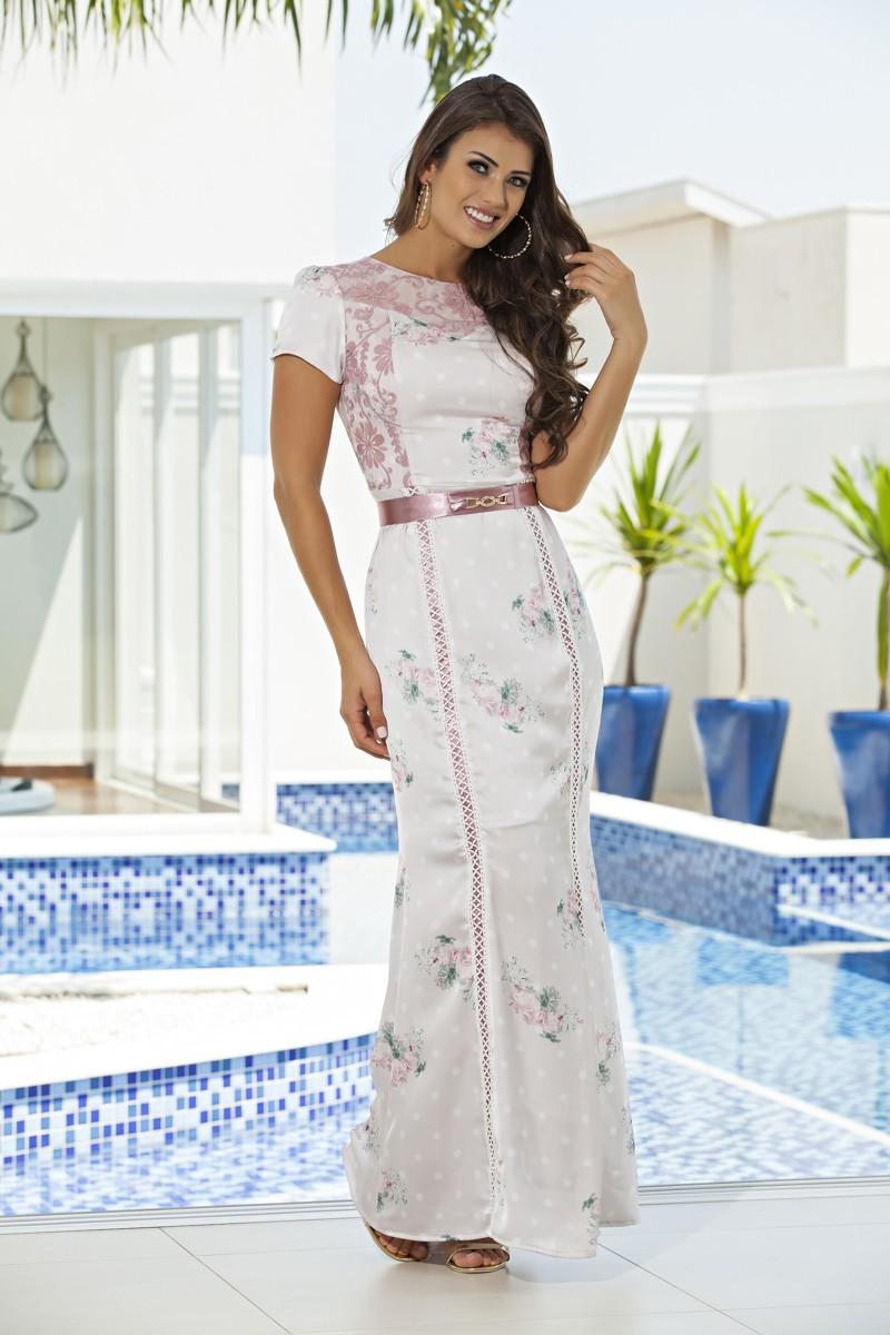 2096- Vest: longo em seda estampado c/ forro det. em tule bordado e cinto