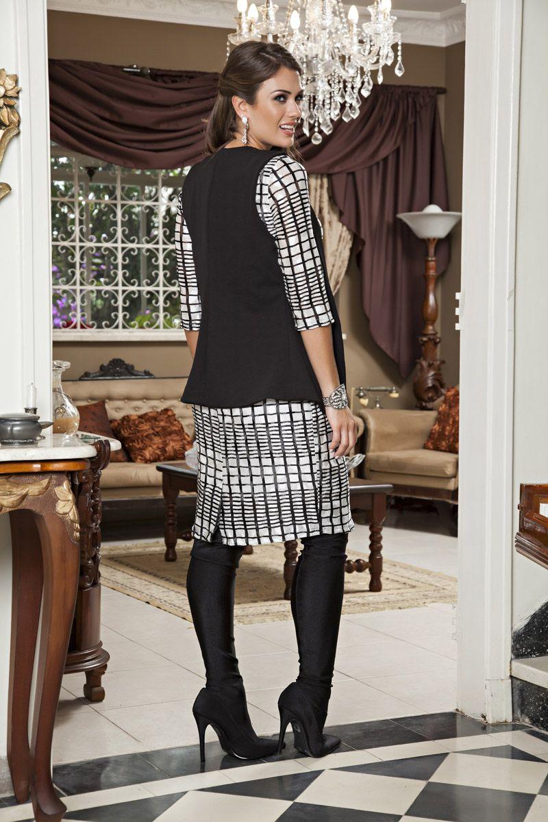 2184- Vest: em malha estampada c/ forro e colete em malha