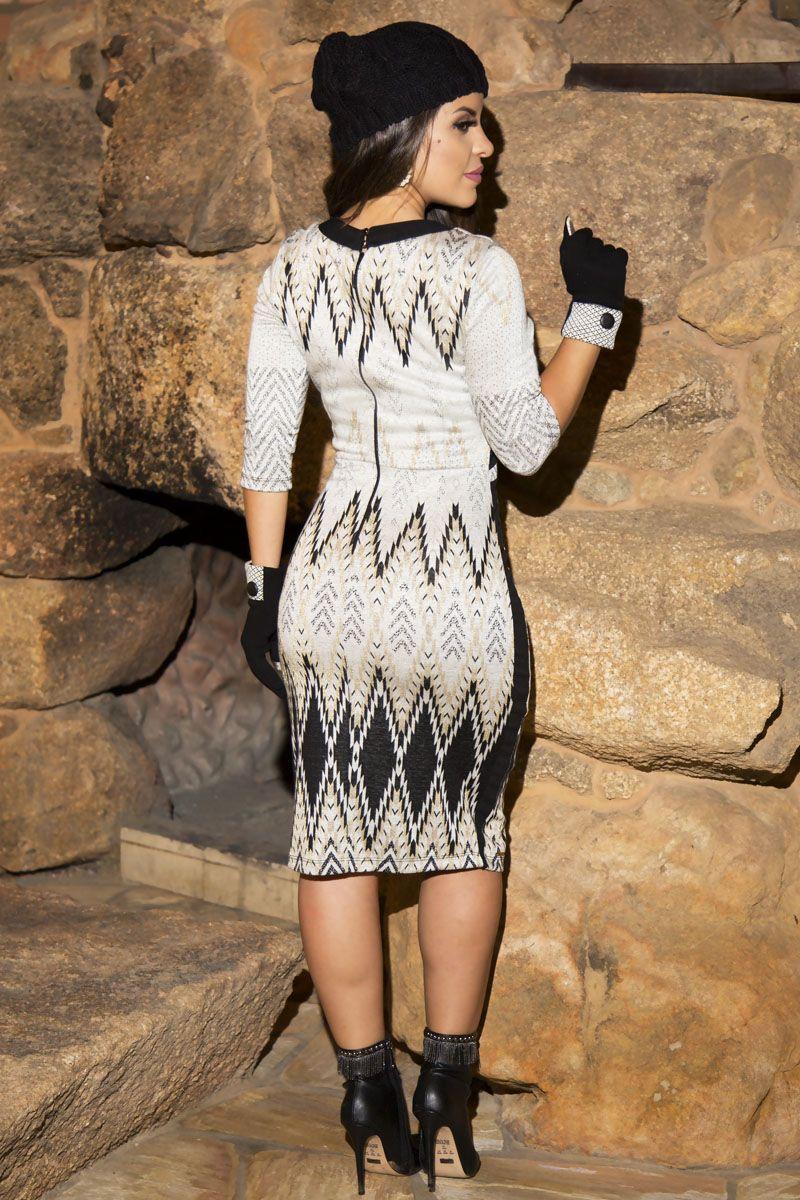 2215- Vest: em tweed estampado c/ forro det. recortes liso