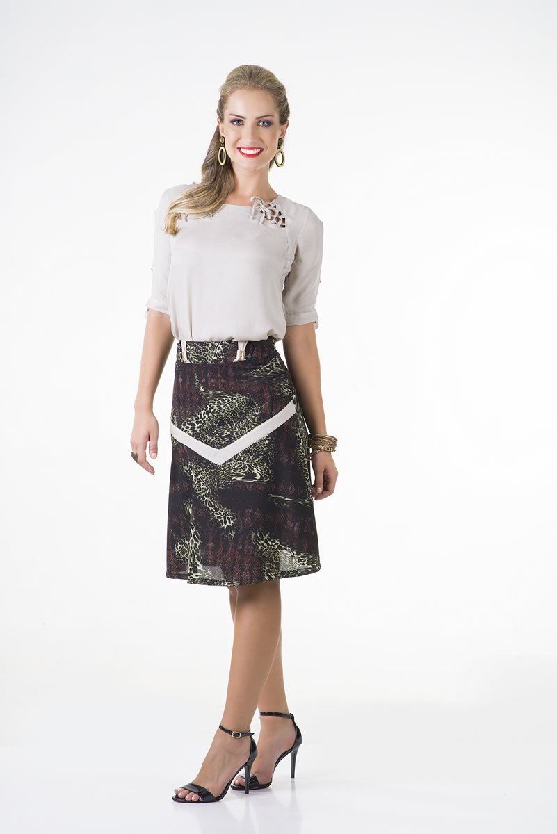 1667-Conjunto saia crepe estampada c/ blusa crepe leve