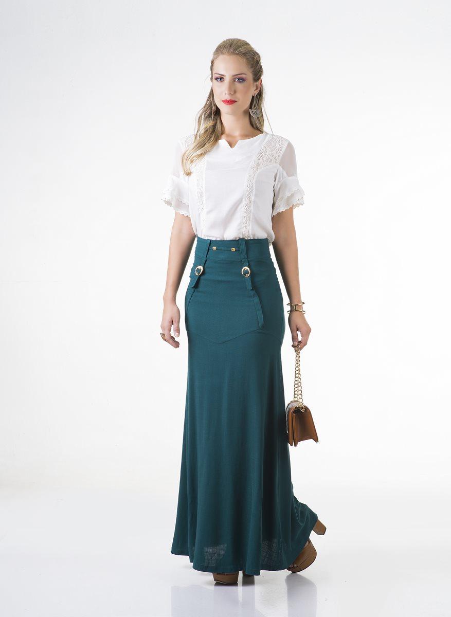 1660-Conjunto saia longa linho e blusa crepe manga 2 bordados