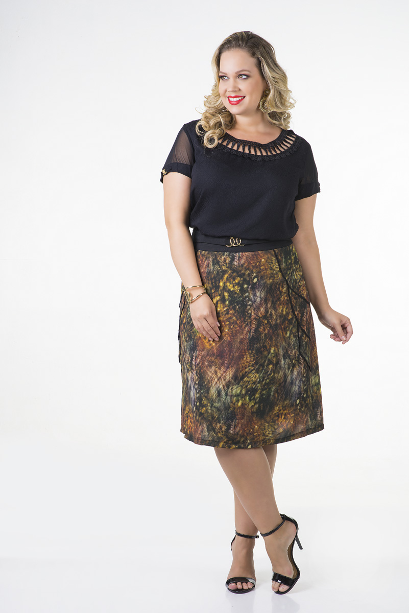 1680-Conjunto plus size saia crepe estampada e blusa viscose decote guipir