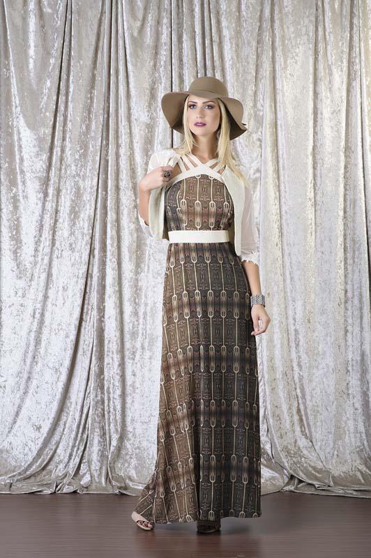 Vestido longo estampado com bolero