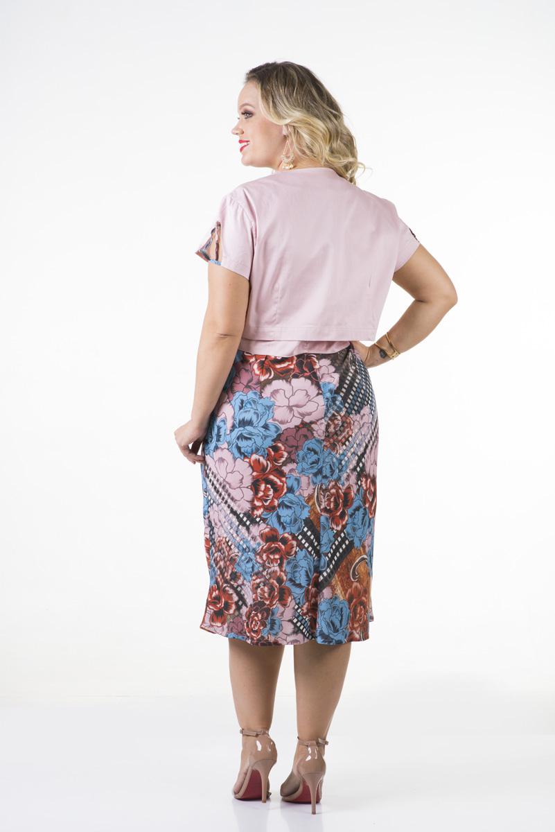 1674-Vest: plus size evasê crepe c/ bolero cotton