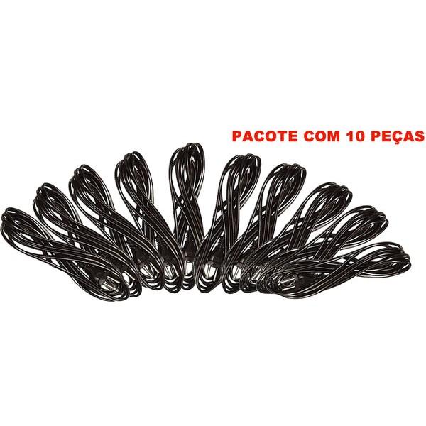 Cabo Elétrico PP com plug Injetado 750V 2.0 X 1.50 X 2,82 Mts Pacote 10 PEÇAS