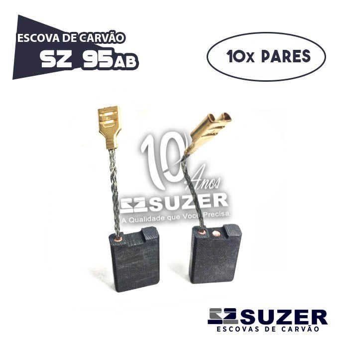 Escova de Carvão lixadeira Bosch 1751/1351 GWS 20-180 - SZ 95AB (10 PARES)