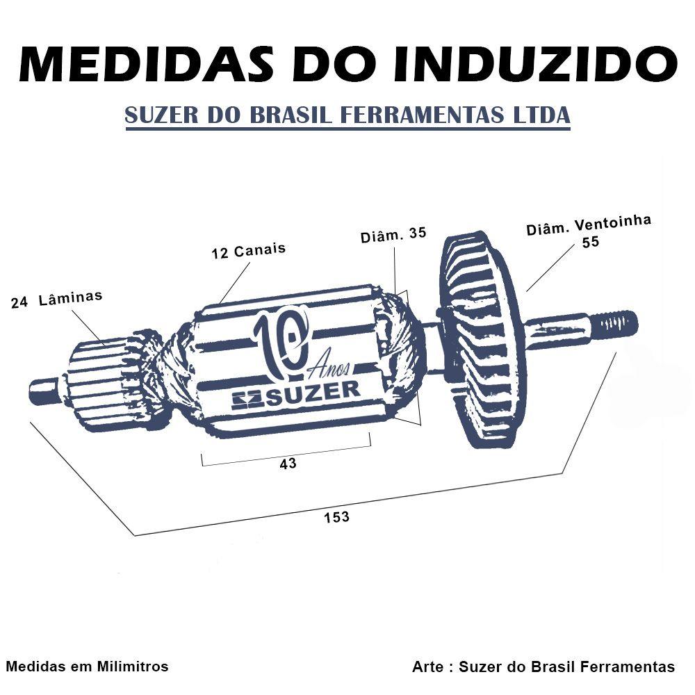 Induzido para Lixadeira/ Esmerilhadeira Bosch 1347 GWS 7-115