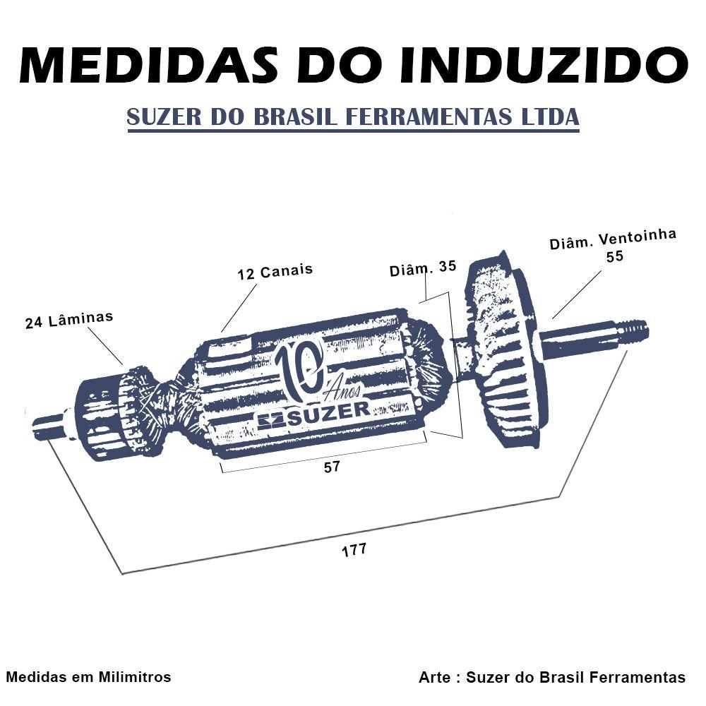 Induzido para Lixadeira/ Esmerilhadeira Bosch 1801 GWS 9-125