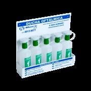 CONJUNTO (5+500ML) DUCHAS OFTÁLMICAS FRASCO 500ML COM SUPORTE DE 5 LUGARES PARA FIXAR EM PAREDE
