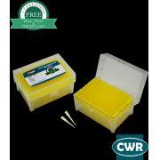 Ponteira universal, 1-200µl, sem filtro, estéril, amarela, graduada, livre DNAse/RNAse, rack com 96 peças