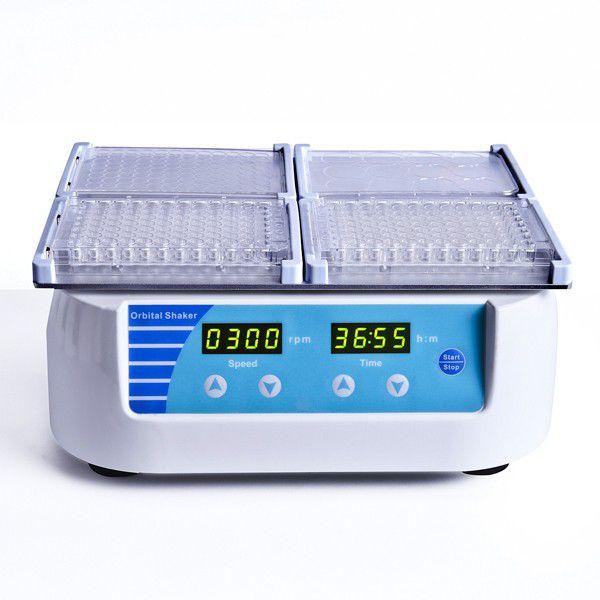 AGITADOR PARA 4 MICROPLACAS TIPO ELISA, PCR COM 96/384 POÇOS OU CULTURA CELULAR DE 24/48/96 POÇOS