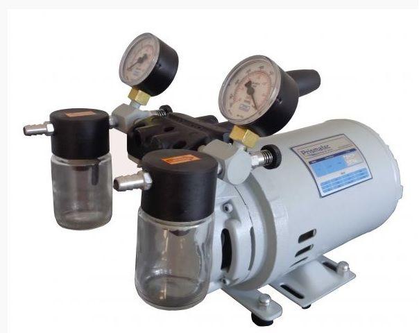 Bomba de Vácuo e Compressor de Ar, 42 litros/M, 670 mmHg, Isenta de Óleo, Potência do Motor 1/4HP, Modelo: 121