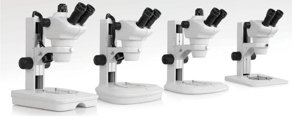 """Estereomicroscópios binoculares ou trinoculares com """"zoom"""" disponíveis em aumentos de 50x, 75x, 100x, 150x e 200x com um ou dois tipos de iluminação diascópica (transmitida) ou episcópica (incidente)"""