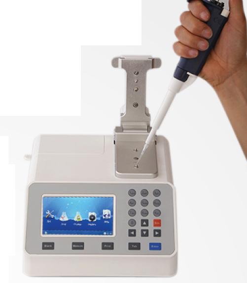Fotômetro digital quantificação DNA/RNA/PROTEÍNAS Ultra-micro-volume, amostra 0,5~2μL, com filtros 230NM, 260NM, 280NM. Tela touchscreen. Modelo NANOQUANT 200