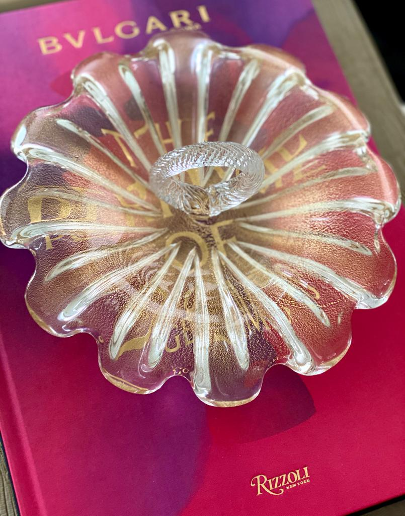 Bowl para Petit Four - Transparente com Ouro