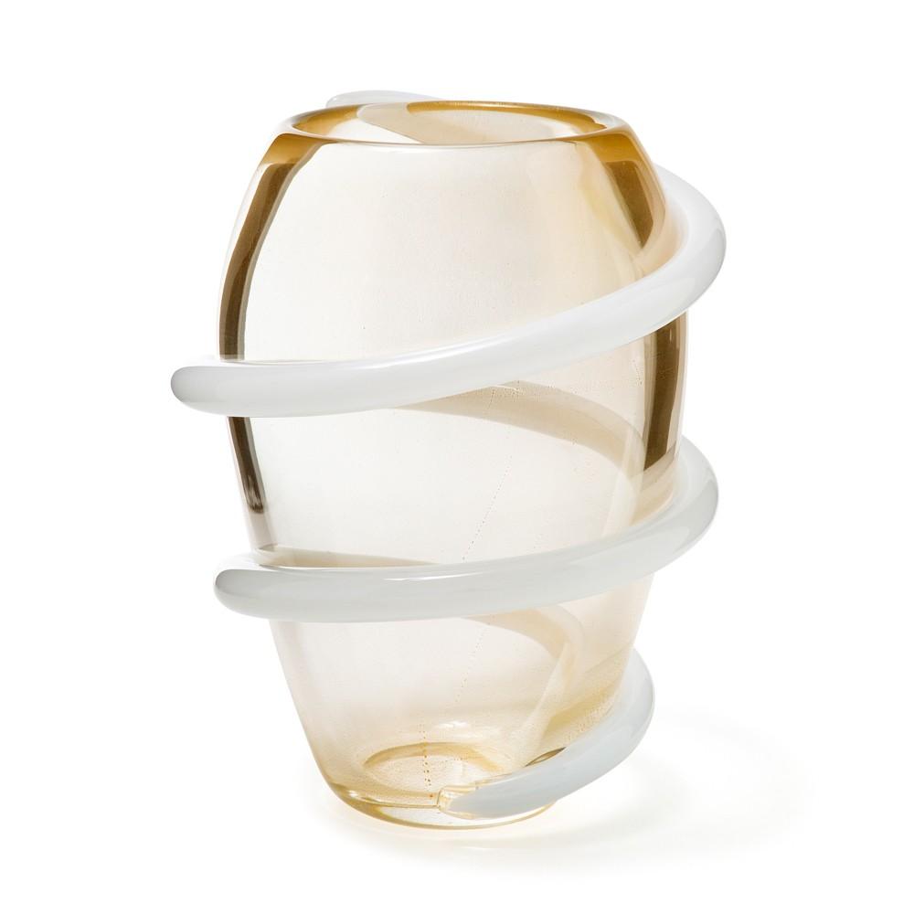 Vaso Cordone - Transparente com fio Branco - G