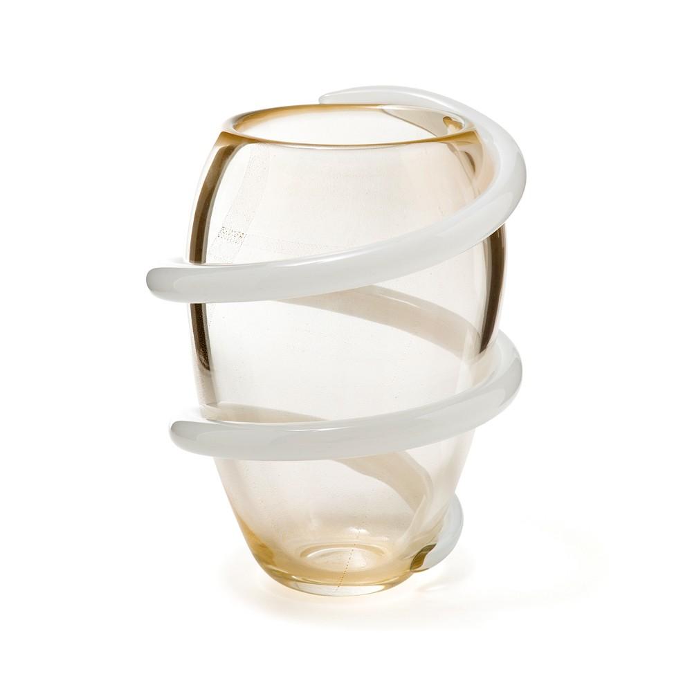 Vaso Cordone - Transparente com fio Branco - M
