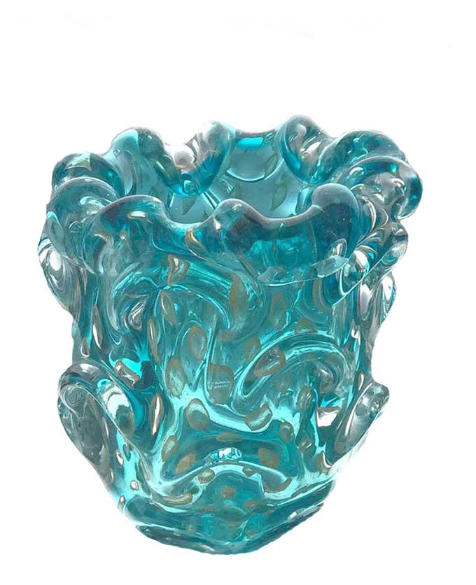Vaso Escamas c/ Borda Babado - Azul Acqua - P