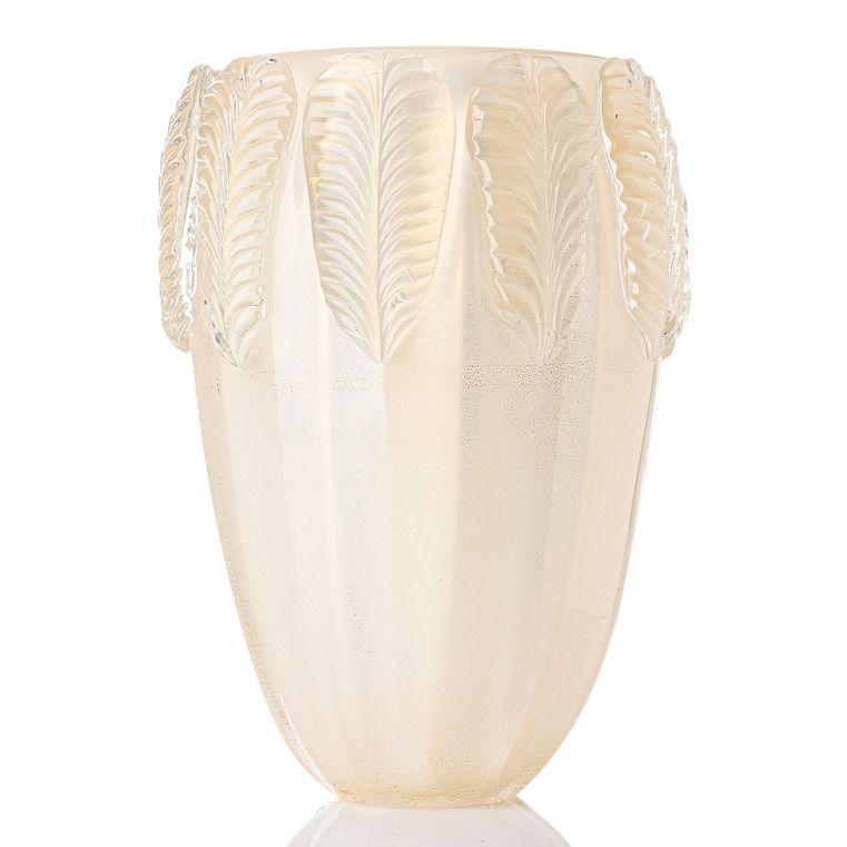 Vaso Foglio - Branco Bastão com Ouro - G