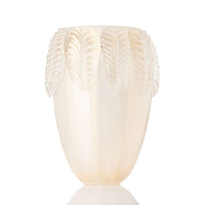 Vaso Foglio - Branco Bastão com Ouro - M
